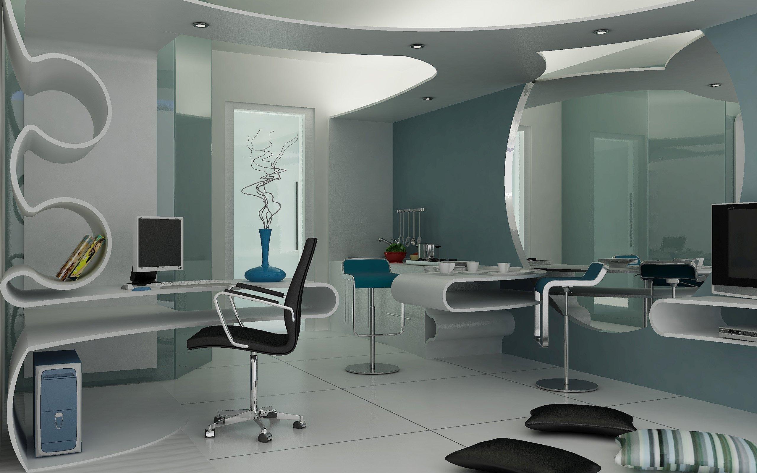 Оригинальный компьютерный стол в интерьере