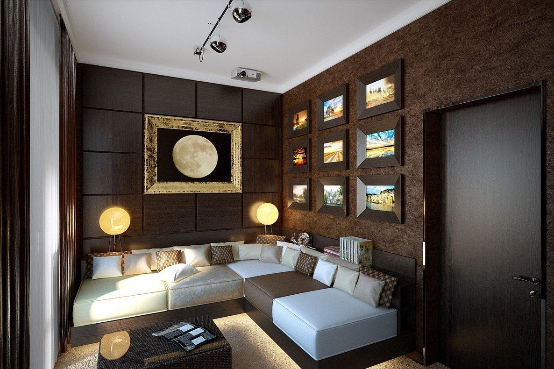 Коричневая гостиная в стиле модерн