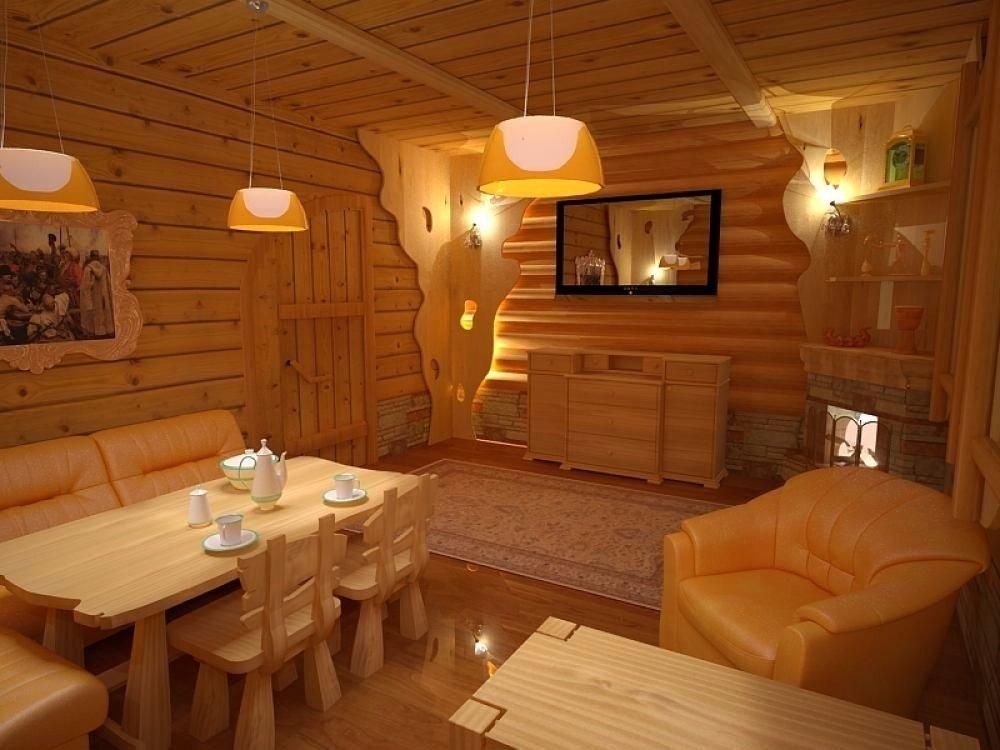Освещение люстрами комнаты отдыха в бане
