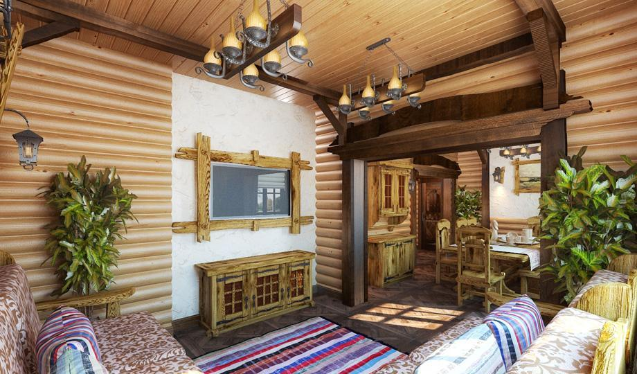 Декор в интерьере комнаты отдыха в бане