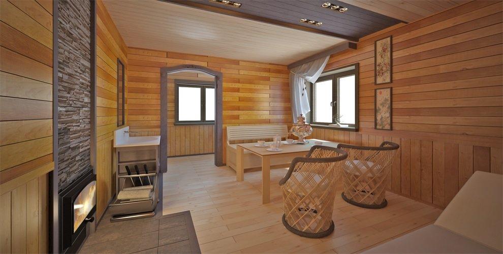 Комната отдыха в бане в стиле модерн