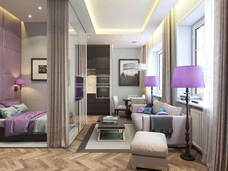 Интерьер однокомнатной квартиры 33 кв м в стиле модерн