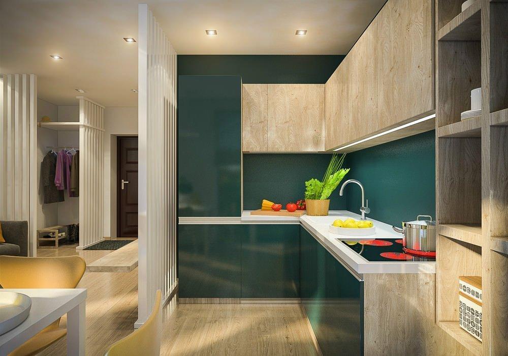 Дизайн кухни в однокомнатной квартире 33 кв м