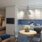 Сочетание синего фартука и белой мебели