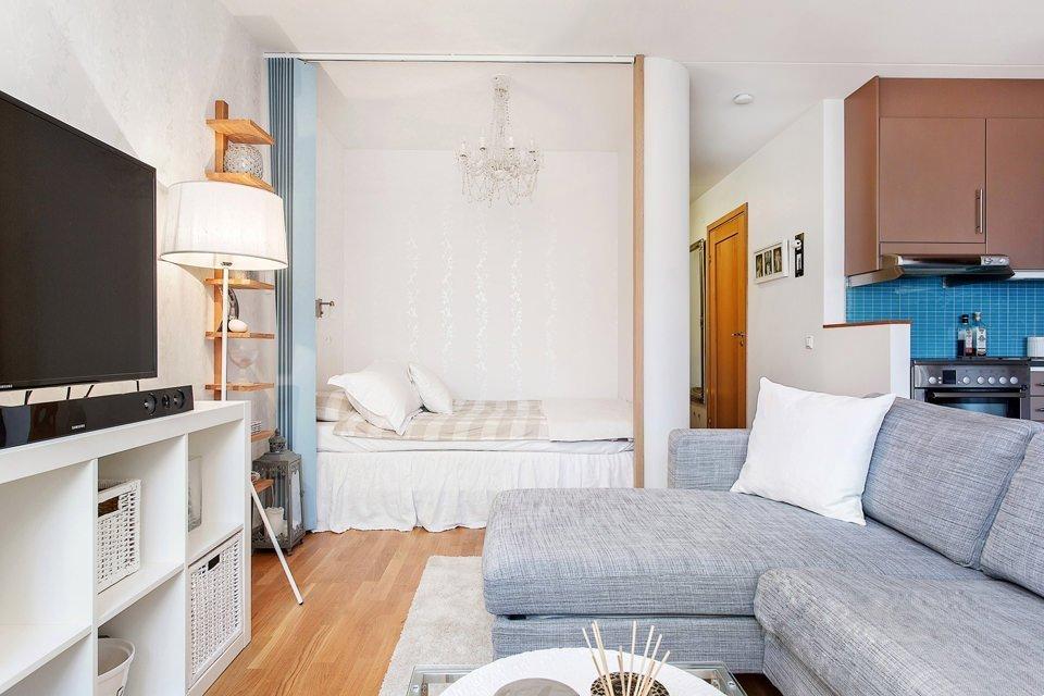 Дизайн гостиной и спальни в однокомнатной квартире 33 кв м