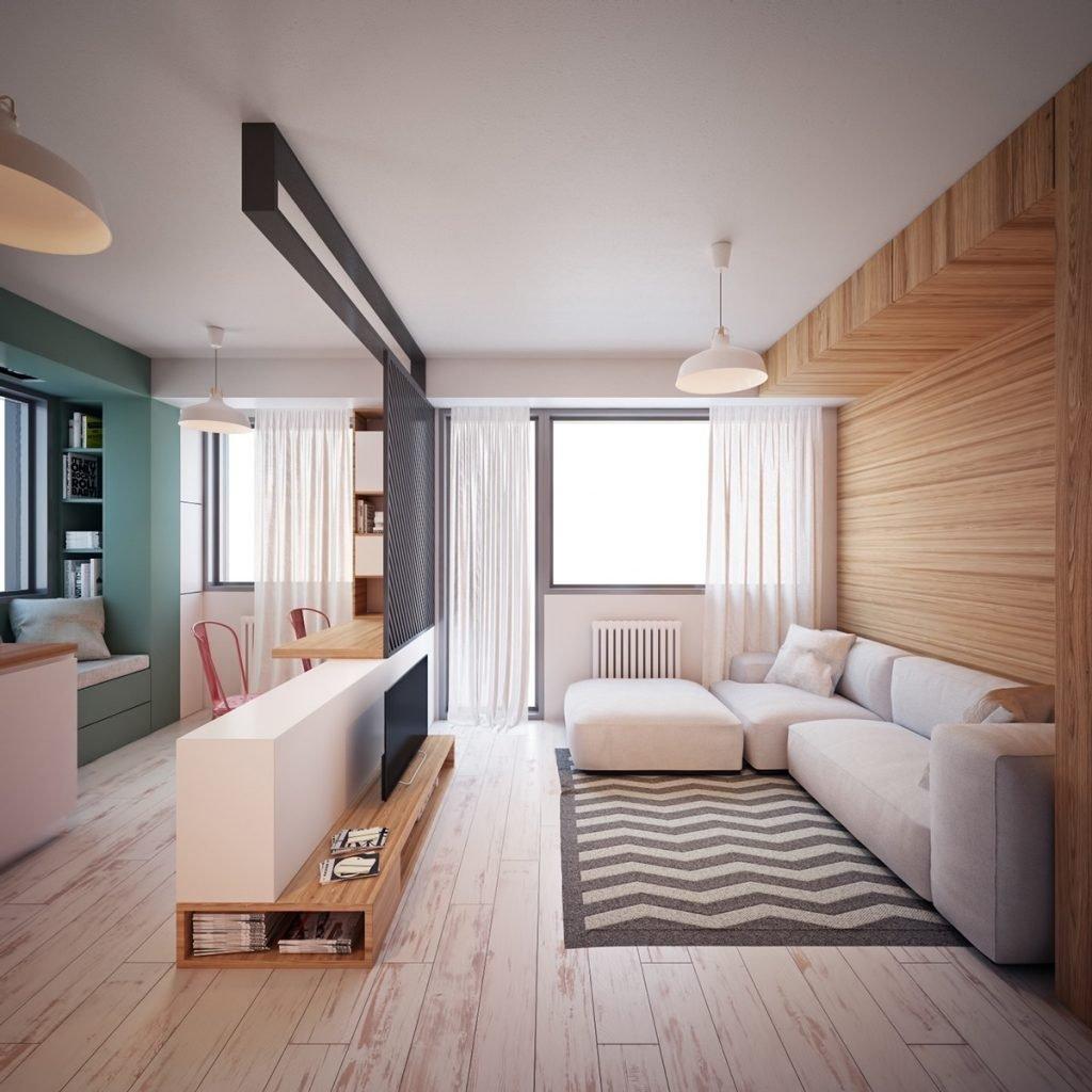 Современная отделка однокомнатной квартиры 33 кв м