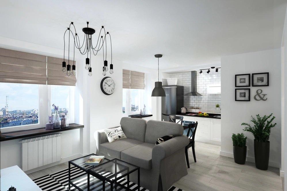 Светлые стены в однокомнатной квартире 33 кв м