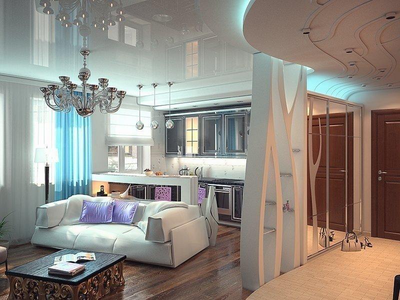 Светлая мебель в гостиной-прихожей