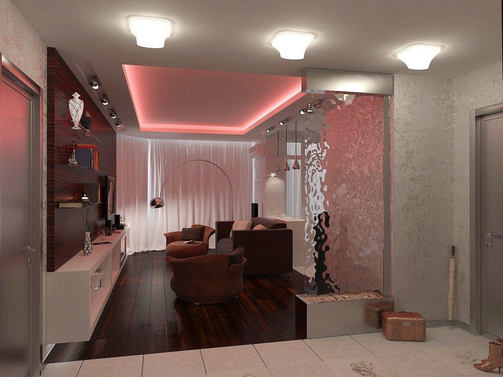 Декор в интерьере гостиной-прихожей