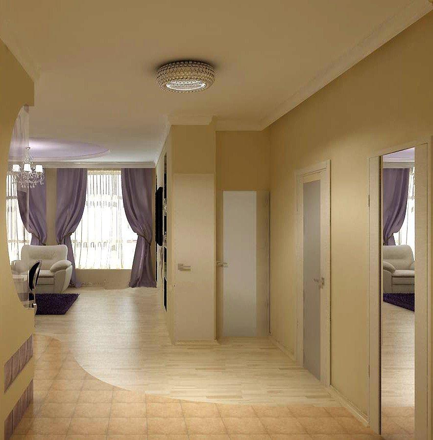 Светлый потолок в гостиной-прихожей