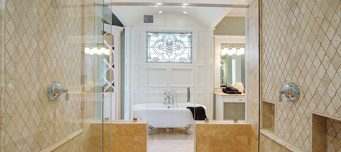Диагональная плитка в ванной