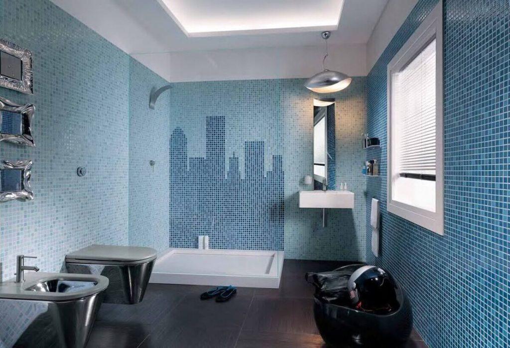 Мозаичная раскладка в ванной