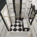 Черное зеркало на белой стене