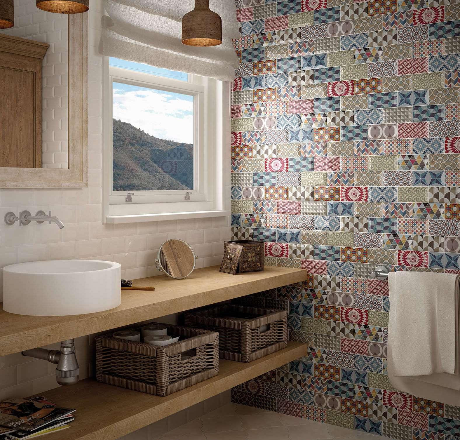 Плитка пэчворк в интерьере ванной