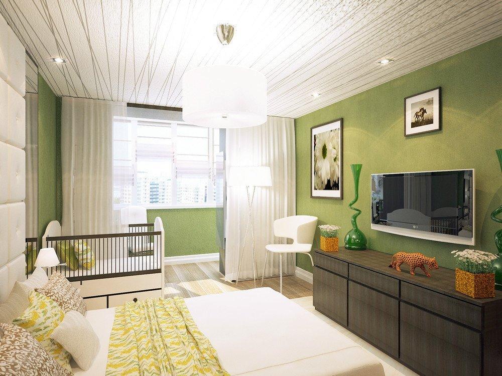 Светло-зеленая спальня с выходом на балкон