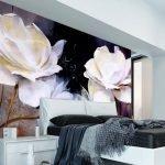Белые розы на стене