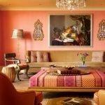 Оранжевый в дизайне комнат