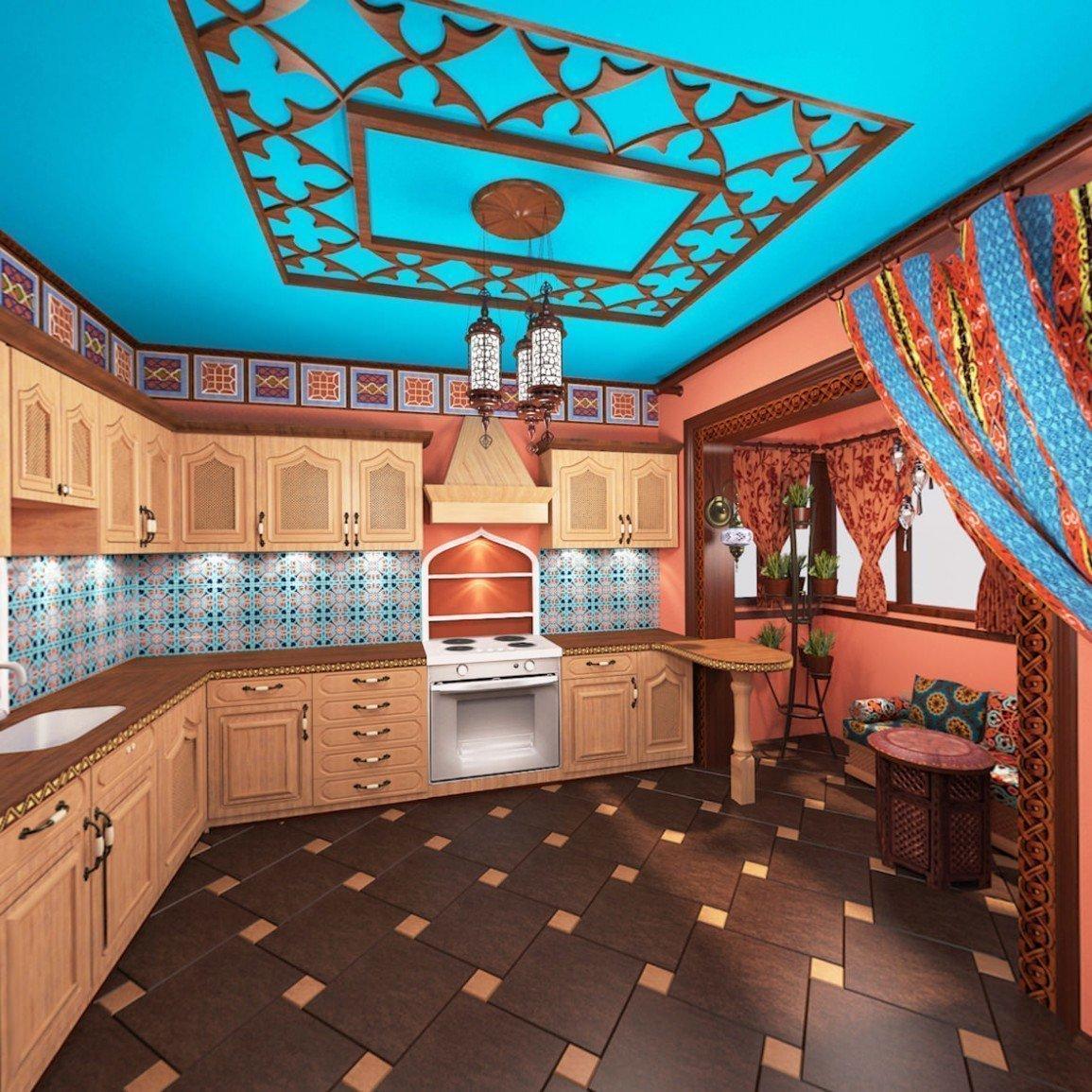 Кухня с ярким в марокканском стиле