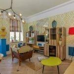 Мебель в стиле 60-х в интерьере гостиной