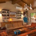 Комната с отделкой и мебелью в стиле 60-х